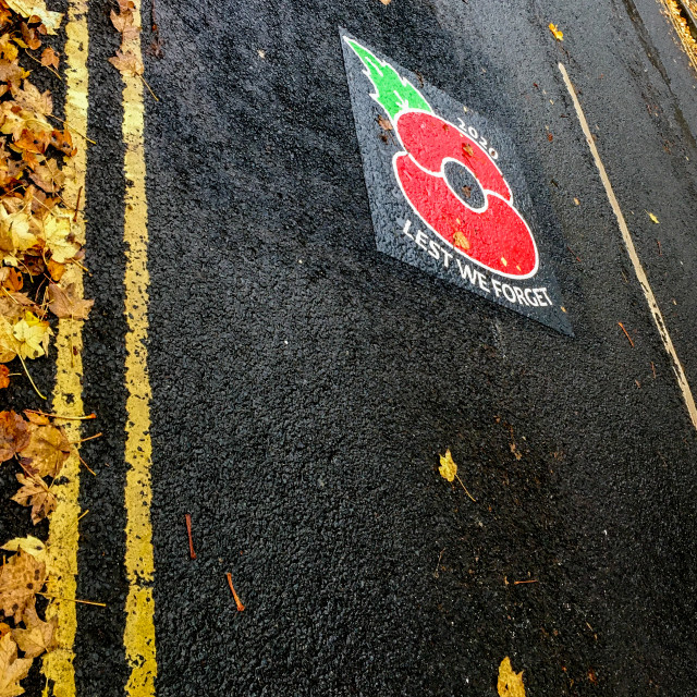 """Remembrance Sunday Poppy Road Sign. Ilkley."" stock image"