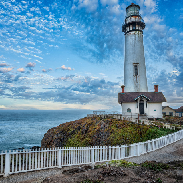 """""""Pigeon Point Lighthouse at Dawn"""" stock image"""