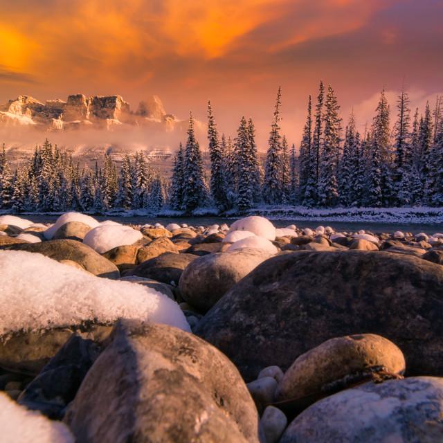 """""""Castle Alpen Glow"""" stock image"""