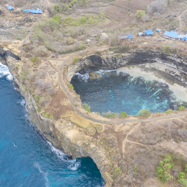 """""""Aerial view, Top Down Drone Shot of beautiful landscape Pasih Uug, Klungkung, Broken Beach and Angel Billabongat Nusa Penida, Bali, Indonesia. Famous place for tourism, snorkeling and diving."""" stock image"""
