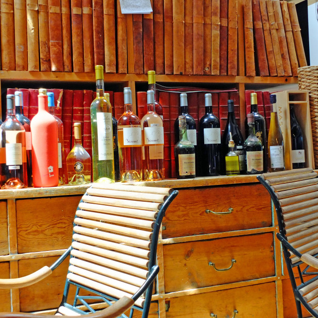 """""""Wine Bar in Banon Provence France"""" stock image"""