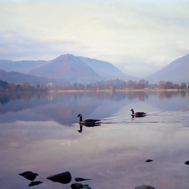 """Lake at Grasmere in the English Lake District"" stock image"