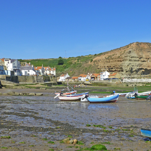 """""""Fishing village of Staithes North Yorkshire Coast"""" stock image"""