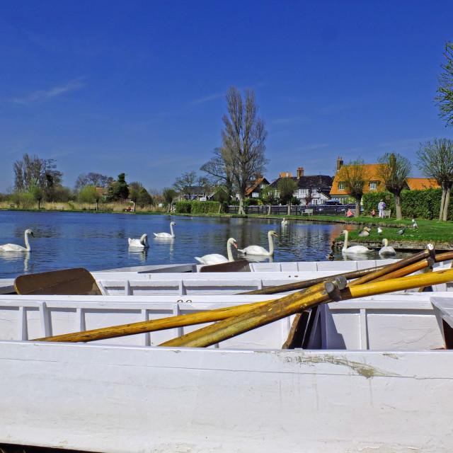 """Boating lake at Thorpeness Suffolk Coast England"" stock image"