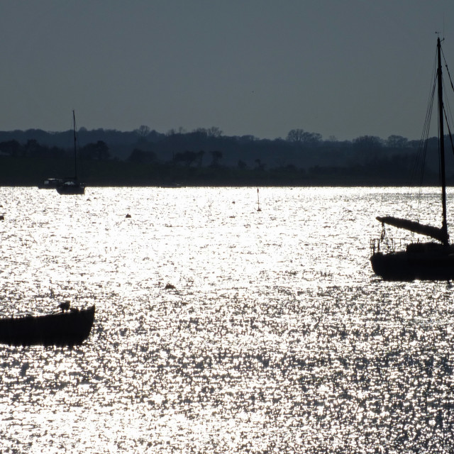 """""""Late evening boating at Aldeburgh Suffolk"""" stock image"""