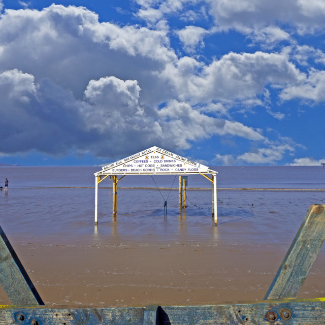"""""""Weston super Mare Beach with Pier view"""" stock image"""