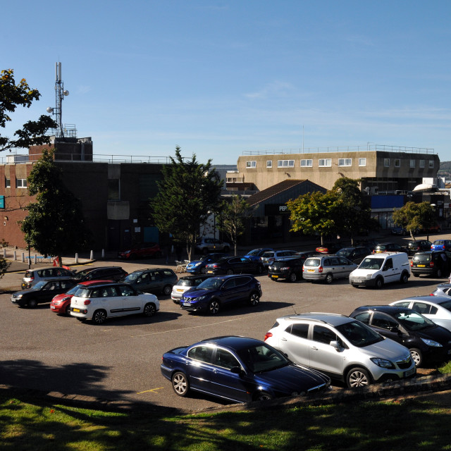 """""""Langney Shopping Centre before new extension built"""" stock image"""