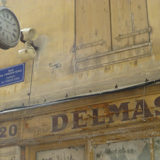 """Old shop front in Perpignan France"" stock image"