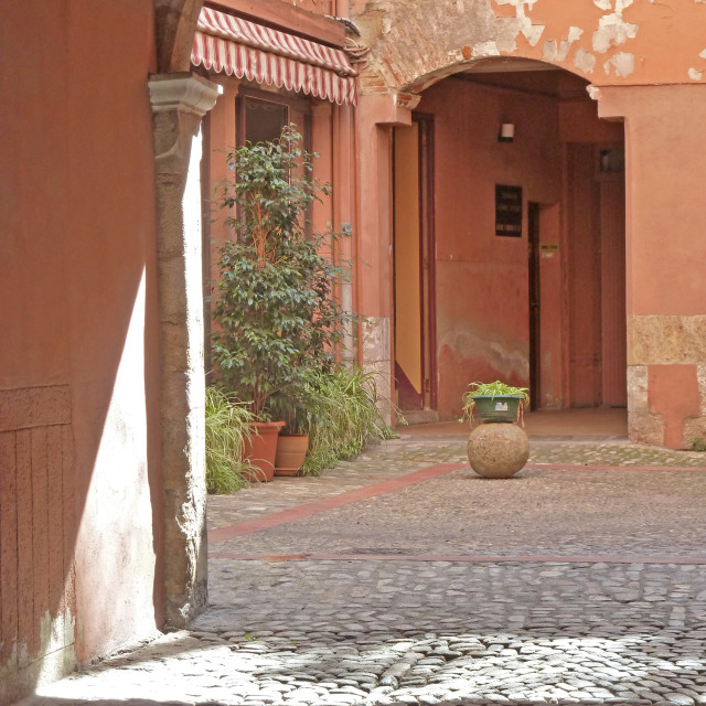 """Courtyard in Perpignan Catalonia Francer"" stock image"