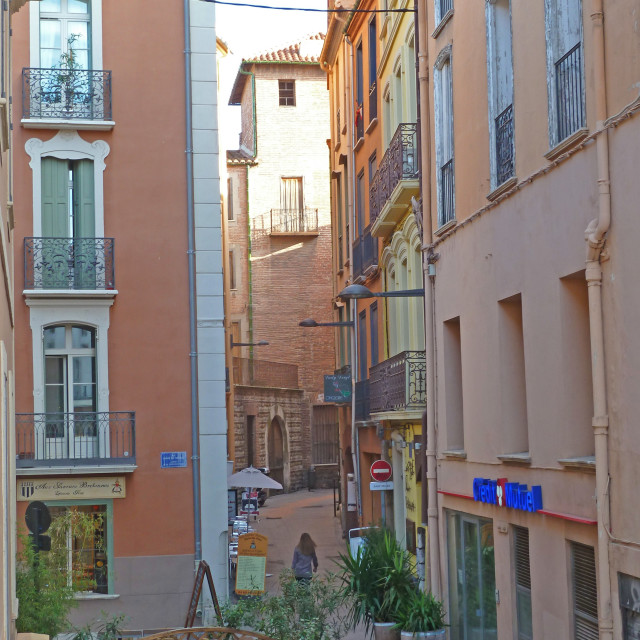 """Narrow street in the centre of Perpignan Catalonia France"" stock image"