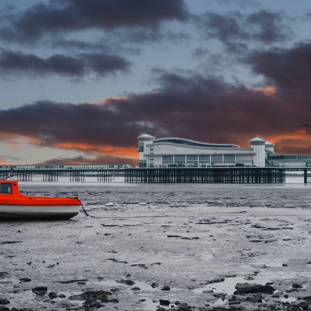 """""""Weston Super Mare Pier and Fishing boat"""" stock image"""