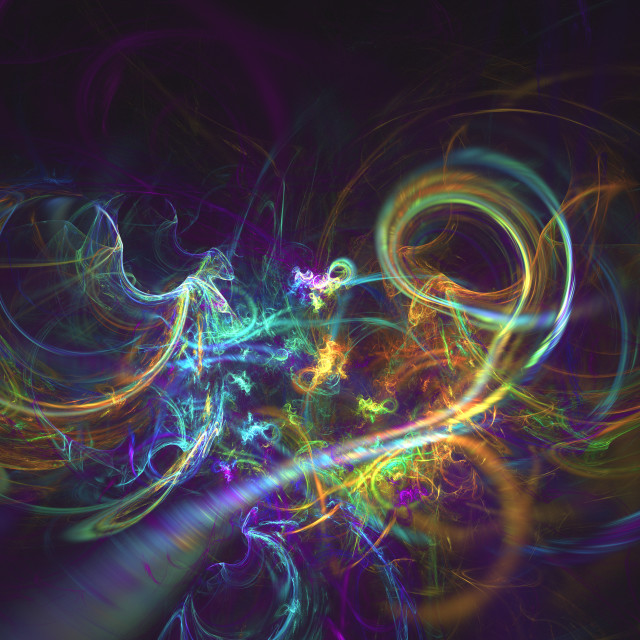 """""""Fractal multi colored swirls over dark space abstract background"""" stock image"""