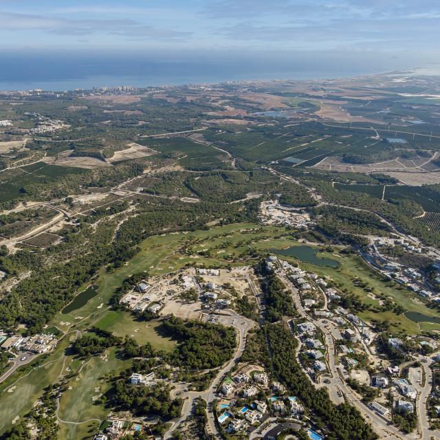 """Aerial photo Las Colinas. Costa Blanca, Spain"" stock image"