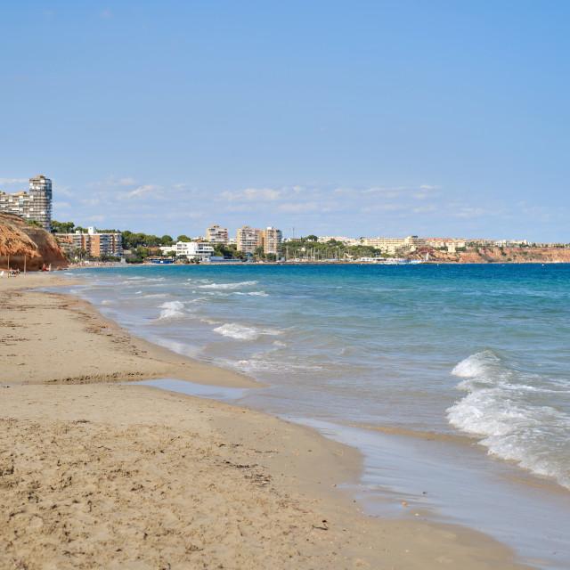 """Mil Palmeras sandy empty beach. Spain"" stock image"
