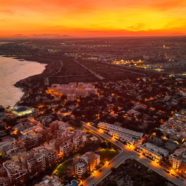 """""""Aerial view cityscape at sunset. Spain"""" stock image"""