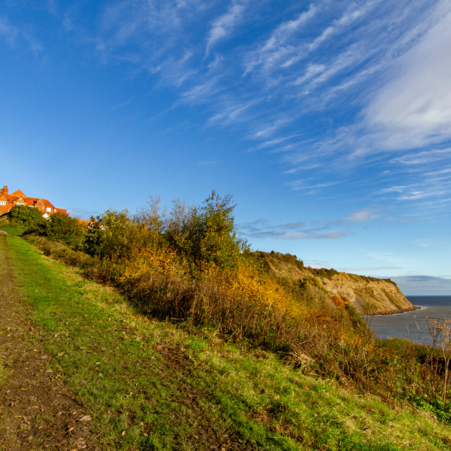 """""""View of the cliffs at Robin Hoods Bay on a Sunny Morning."""" stock image"""