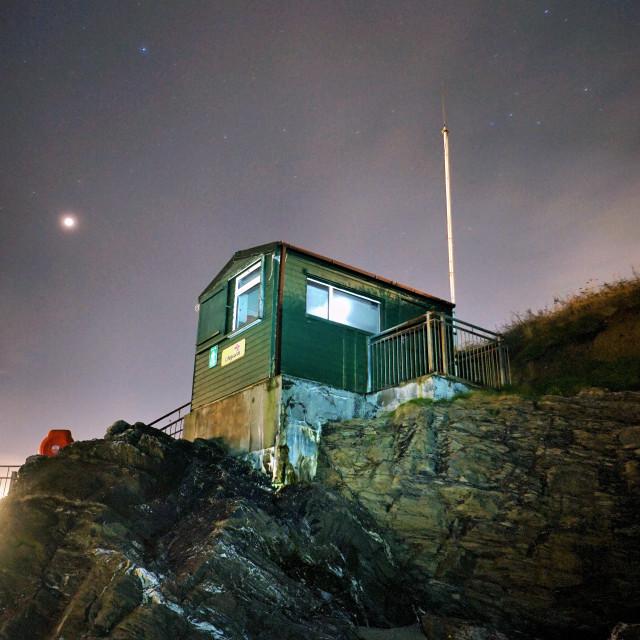"""Lifeguard Hut under the stars."" stock image"