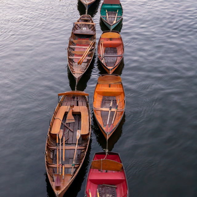 """""""Wooden boats for hire moored on the River Thames, London"""" stock image"""