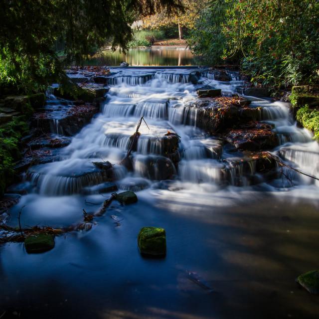 """Long exposure of Carshalton Ponds Waterfall"" stock image"