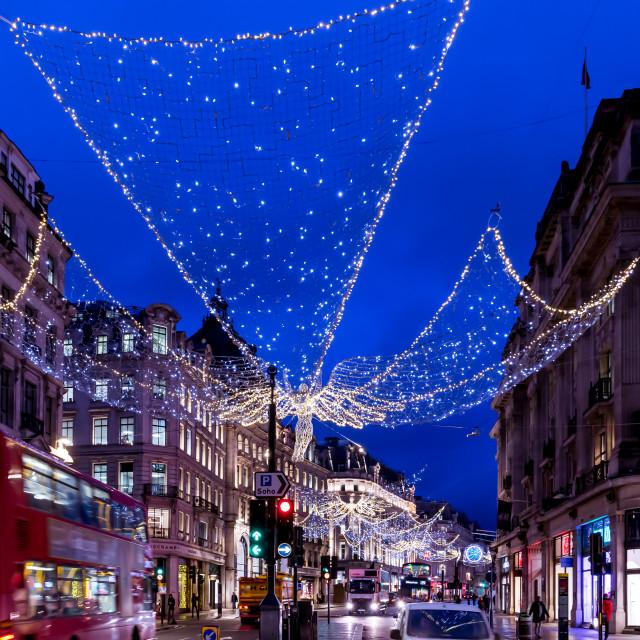 """""""London's Regent St festive Christmas street lights"""" stock image"""