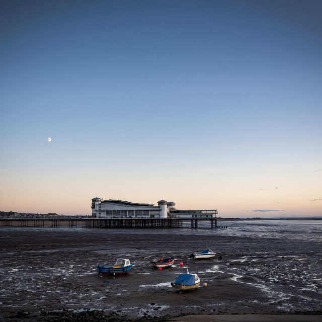 """""""Weston-Super-Mare pier and seafront at dusk"""" stock image"""
