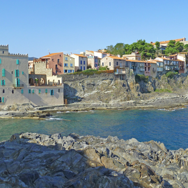 """Collioure South of France view looking North along the coast"" stock image"