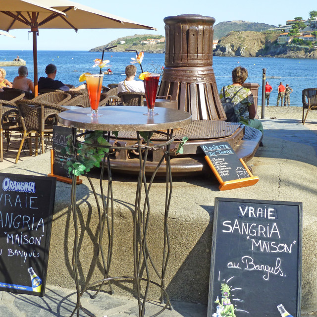 """Collioure Beach front cafe South of France"" stock image"