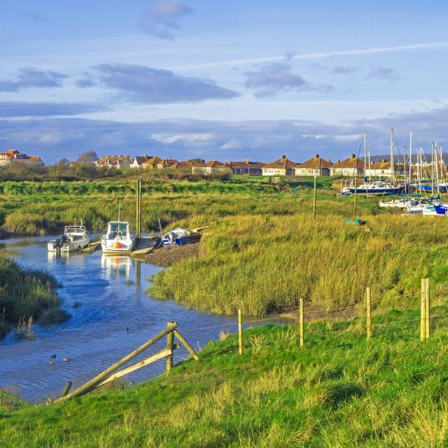 """Uphill Estuary and boatyard Somerset"" stock image"