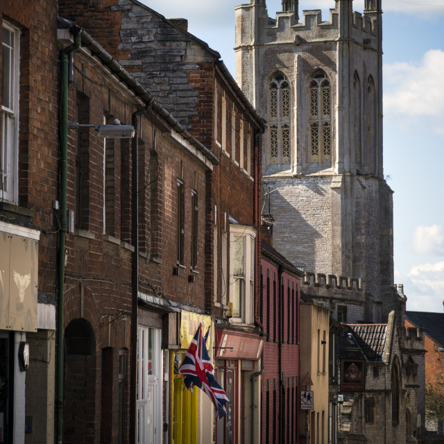 """""""Street view in Glastonbury town centre in Somerset"""" stock image"""
