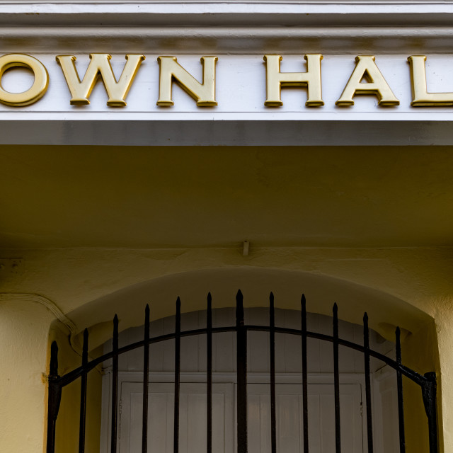 """""""Bold town hall sign at local government office"""" stock image"""