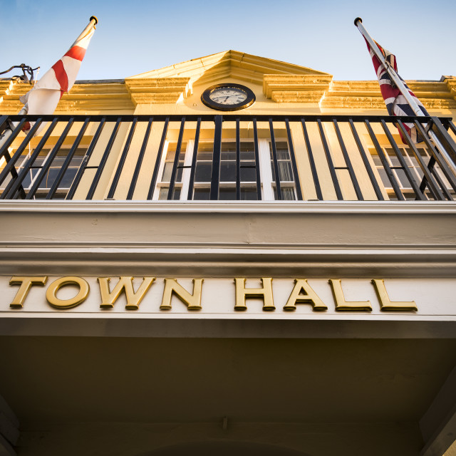 """""""Looking up at town hall in early evening sunshine"""" stock image"""