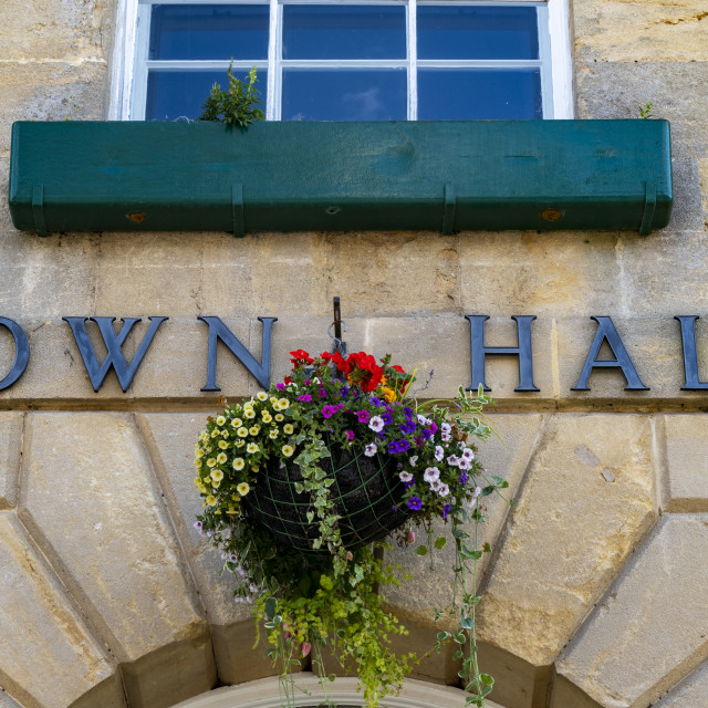 """""""Town hall sign on exterior of local government office"""" stock image"""