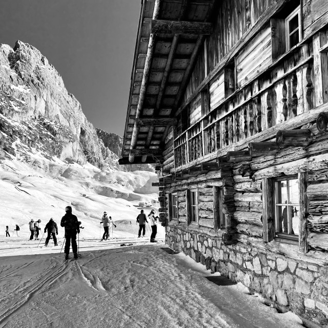 """""""Val Gardena ski lodge."""" stock image"""