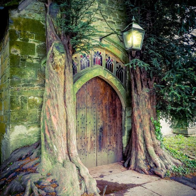 """St. Edwards Church Doorway"" stock image"