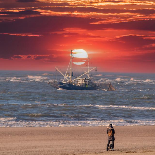 """Sonnenuntergang am Strand"" stock image"