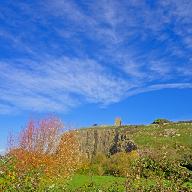 """""""Uphill Nature Reserve with St Nicholas Church"""" stock image"""