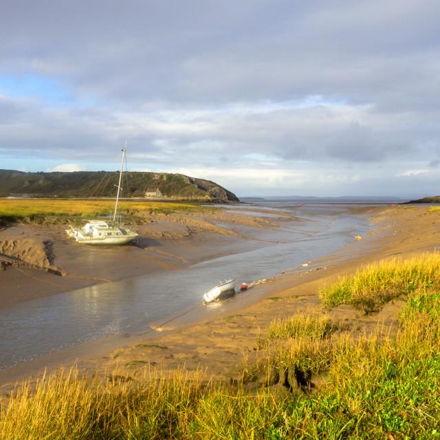 """Autumn view of the Axe Estuary Somerset"" stock image"