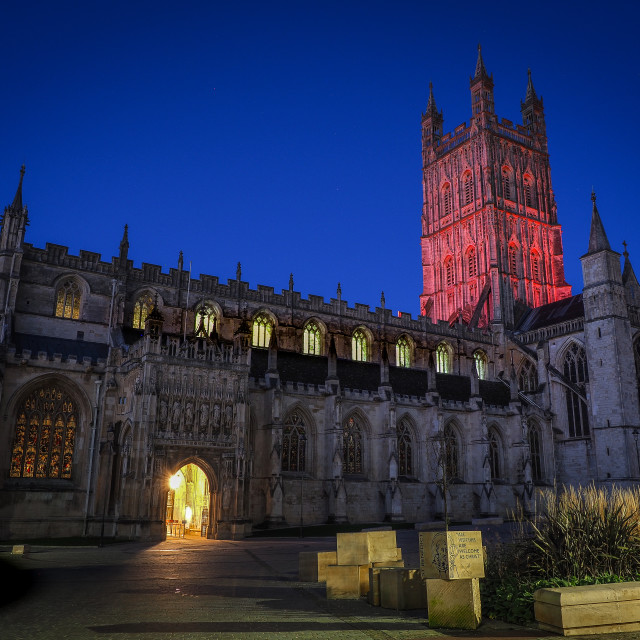 """""""Gloucester Cathedral -Red Glow"""" stock image"""