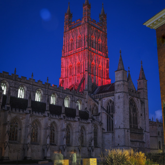 """""""Gloucester Cathedral - Red Glow"""" stock image"""