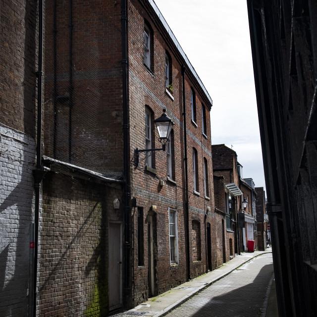 """Street scene in Winchester town centre in Hampshire"" stock image"