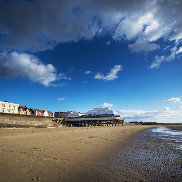 """""""View from the beach of Burnham-on-Sea shortest pier in Britain"""" stock image"""