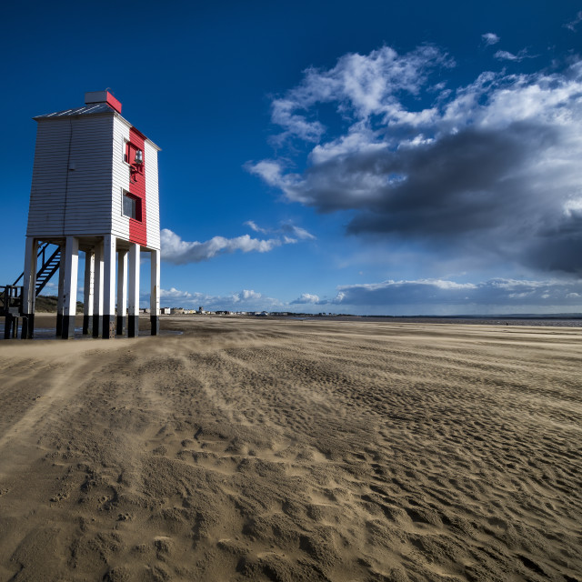 """""""Burnham-on-Sea Low Lighthouse at low tide in Somerset"""" stock image"""