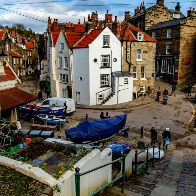 """""""Robin Hoods Bay, View of the Dock Area showing junction of New Road and King Street."""" stock image"""