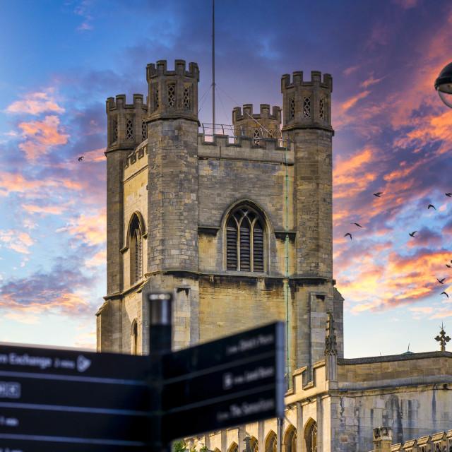 """Sunset on Great St Mary's Church, Cambridge UK."" stock image"