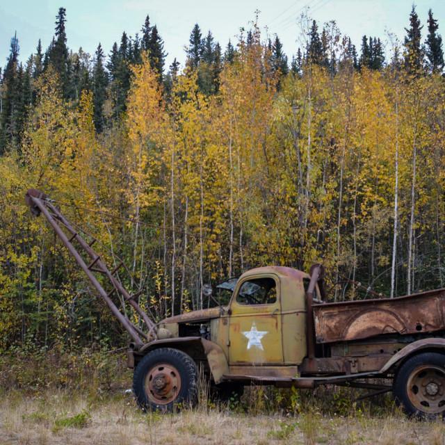 """Old Logging truck"" stock image"