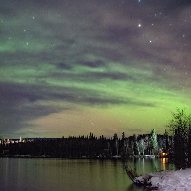"""Cloudy aurora over Birch Lake"" stock image"