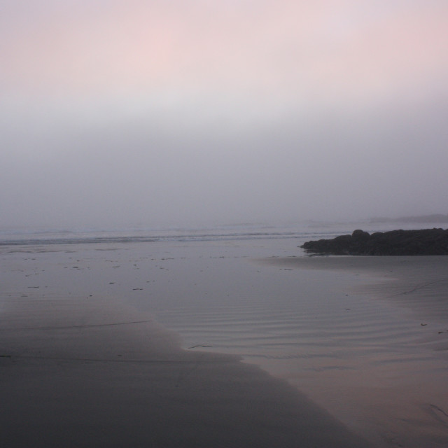 """""""A misty evening view of the Pacific Ocean"""" stock image"""