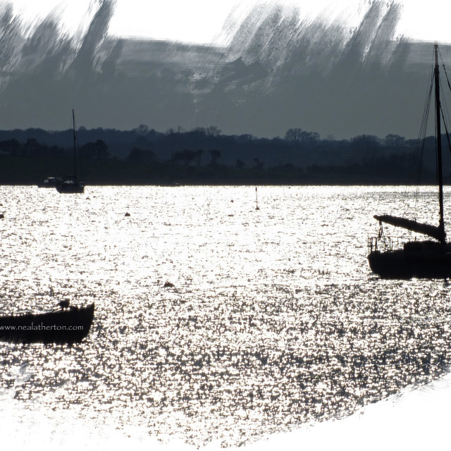 """""""Aldeburgh Suffolk - Boats on the Estuary"""" stock image"""