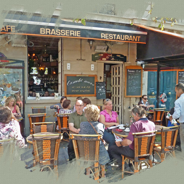 """""""Cafe in Paris by the bridge over the Islands"""" stock image"""