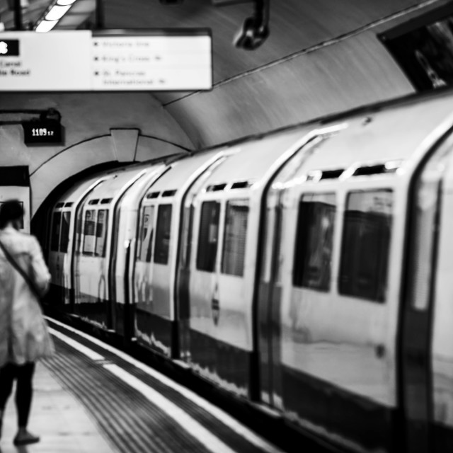 """London Underground in Black and white."" stock image"